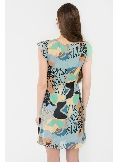 İroni Kısa Kollu Desenli Şifon Mini Elbise Mavi